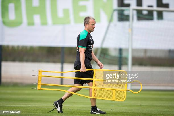 Assistant Coach Frank Geideck is seen during a Training session at the Training Camp of Borussia Moenchengladbach at Klosterpforte on August 21, 2020...