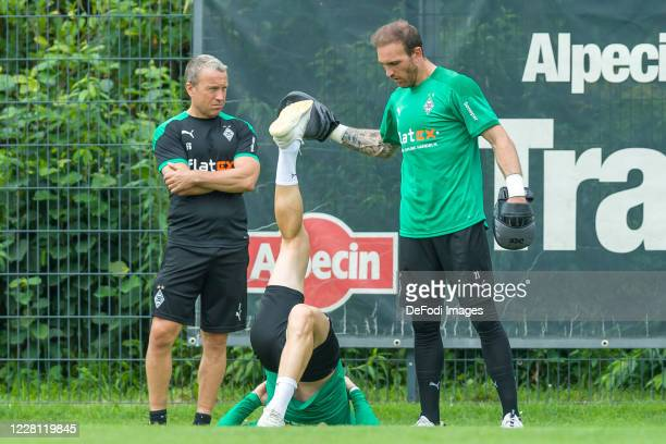 Assistant coach Frank Geideck of Borussia Moenchengladbach and goalkeeper Tobias Sippel of Borussia Moenchengladbach looks on during day 4 of the...