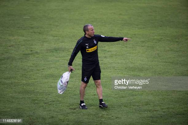 Assistant Coach Frank Geideck of Borussia Moenchengladbach in action during a Training session as part of the Borussia Moenchengladbach China Tour on...