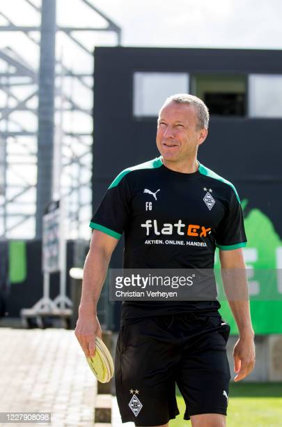 Assistant Coach Frank Geideck of Borussia Moenchengladbach is seen during the first training session Season 2020/21 of Borussia Moenchengladbach at...