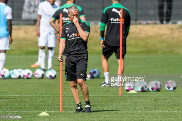 Assistant coach Frank Geideck of Borussia Moenchengladbach looks on during the first training session after the summer break on August 04, 2020 in...
