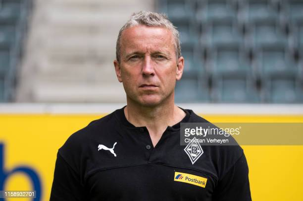 Assistant Coach Frank Geideck of Borussia Moenchengladbach poses during the team presentation at Borussia-Park on August 01, 2019 in...