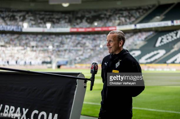 Assistant Coach Frank Geideck of Borussia Moenchengladbach talkes to the media before the Bundesliga match between Borussia Moenchengladbach and...