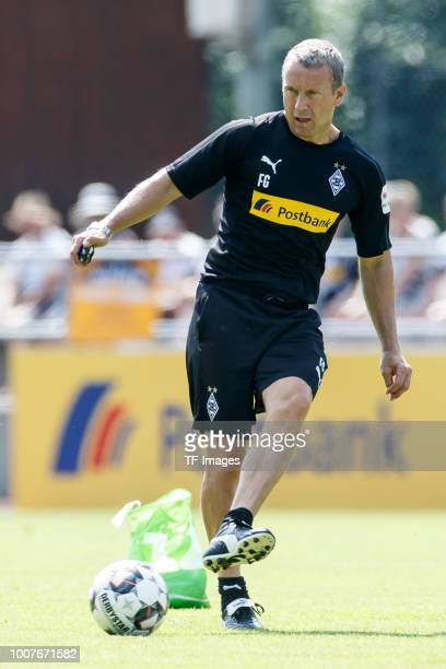 Assistant coach Frank Geideck of Moenchengladbach controls the ball during the Borussia Moenchengladbach training camp on July 25 2018 in...