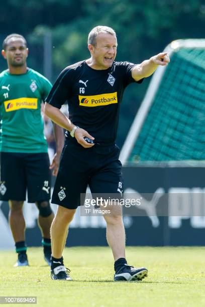 Assistant coach Frank Geideck of Moenchengladbach gestures during the Borussia Moenchengladbach training camp on July 25 2018 in RottachEgern Germany