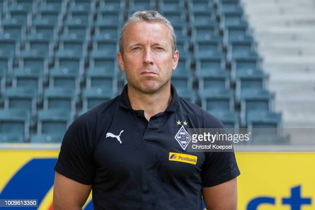Assistant coach Frank Geidecko of Borussia Moenchengladbach poses during the team presentation at Borussia Park on August 2 2018 in Moenchengladbach...
