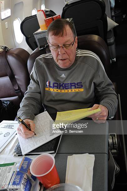 Assistant coach Frank Hamblen of the Los Angeles Lakers relaxes on the team plane to Boston for Game Three of the 2010 NBA Finals against the Boston...