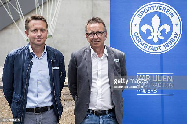 Assistant Coach Frank Heinemann and Head coach Norbert Meier of Darmstadt during the new head coach press conference at darmstadtium on June 15 2016...