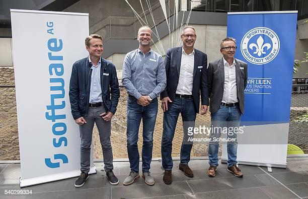 Assistant Coach Frank Heinemann Sports Director Holger Fach President Ruediger Fritsch and Head coach Norbert Meier of Darmstadt during the new head...