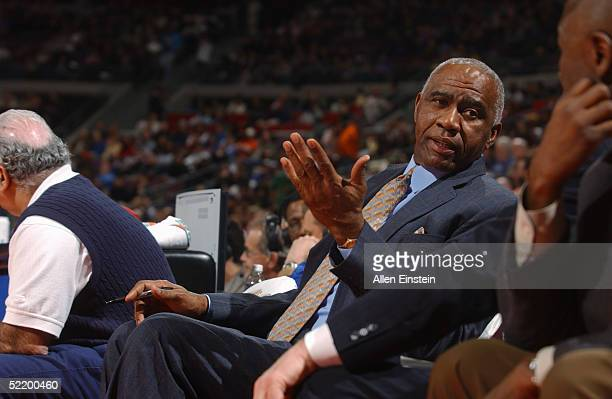 Assistant coach Garfield Heard of the Detroit Pistons talks during the game against the Atlanta Hawks on February 2 2005 at the Palace of Auburn...