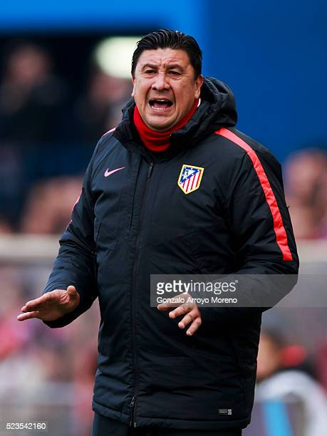 Assistant coach German Burgos of Atletico de Madrid gives instructions during the La Liga match between Club Atletico de Madrid and Malaga CF at...