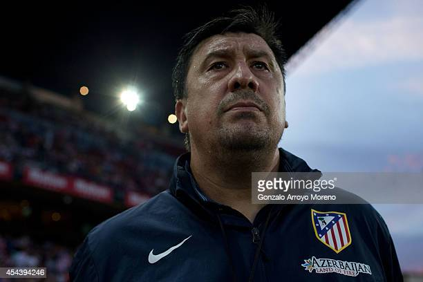 Assistant coach German Burgos of Atletico de Madrid looks on prior to start the La Liga match between Club Atletico de Madrid and SD Eibar at Vicente...