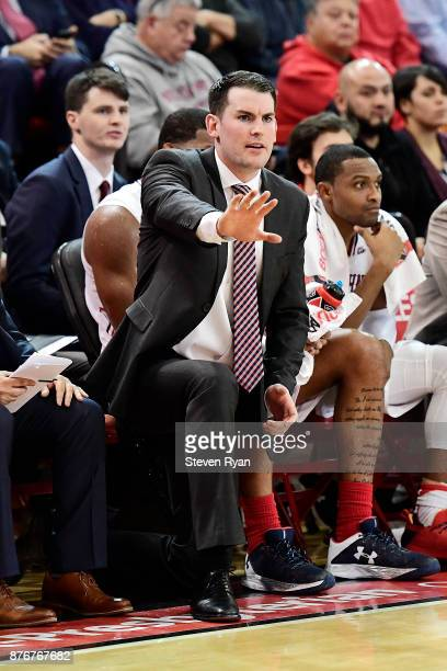 Assistant coach Greg St Jean of St John's looks on against Central Connecticut State during an NCAA basketball game at Carnesecca Arena on November...