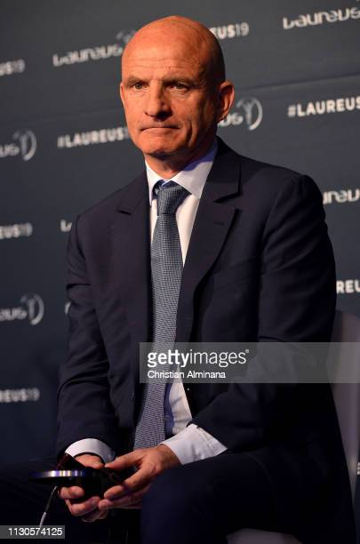 Assistant coach Guy Stephanon of the French World Cup Team winners of the Laureus World Team Of the Year 2019 during a press conference during the...