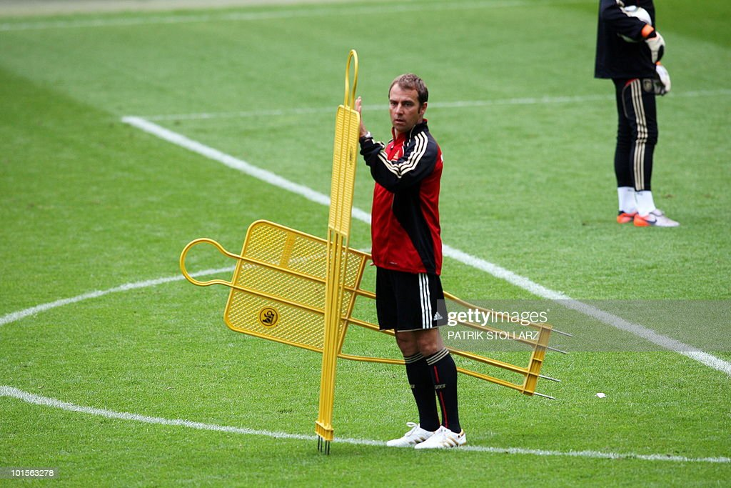 Assistant coach Hans-Dieter Flick prepares a training session at the Commerzbank Arena in the central German city of Frankfurt am Main on June 2, 2010. Germany is facing Bosnia-Herzegovina on June 3, 2010 in their last warm-up ahead of the FIFA 2010 World Cup in South Africa.