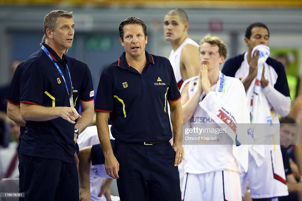 Assistant coach Harald Stein, head coaach Frank Menz, Maik Zirbes, Per Guenther and Alex King of Gemany look dejected after the FIBA European Championships 2013 first round group A match between Germany and Belgium at Tivoli Arena on September 5, 2013 in Ljubljana, Slovenia. The match between Germany and Belgium ended 73-77 after etra time.