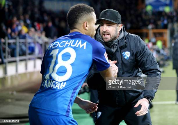 Assistant coach Heiko Buitscher shouts at Jan Gyamerah of Bochum during the Second Bundesliga match between VfL Bochum 1848 and MSV Duisburg at...