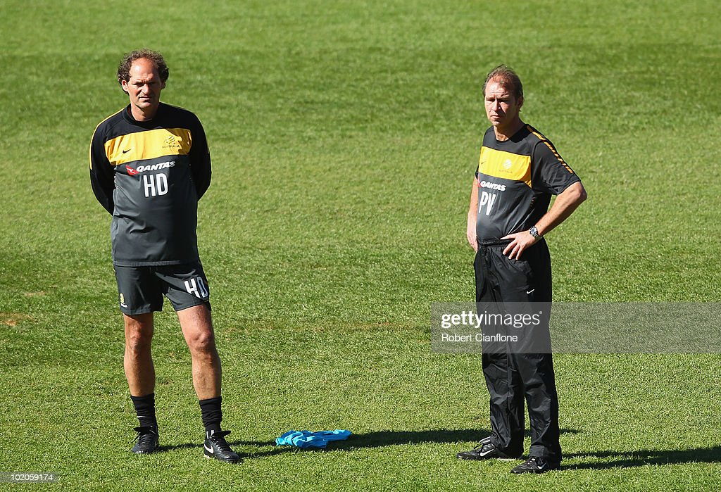 Assistant coach Henk Duut and head coach Pim Verbeek look on during an Australian Socceroos trainin session at Ruimsig Stadium on June 14, 2010 in Roodepoort, South Africa.