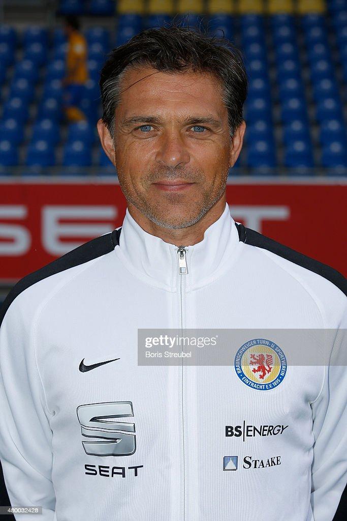 Assistant coach Henning Buerger poses during the Eintracht Braunschweig team presentation at Eintracht Stadion on July 9, 2015 in Braunschweig, Germany.