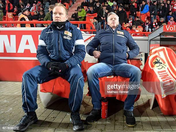 assistant coach Henrik Pedersen and coach Jens Keller of 1 FC Union Berlin during the game between dem 1 FC Union Berlin and Eintracht Braunschweig...