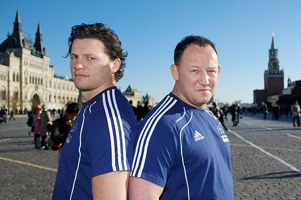 Istant Coach Henry Paul And Of Russian Rugby Team Steve Diamond Pose At Red Square