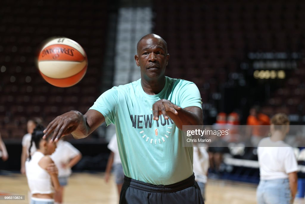 Assistant Coach Herb Williams of the New York Liberty before the game against the Connecticut Sun on July 11, 2018 at the Mohegan Sun Arena in Uncasville, Connecticut.