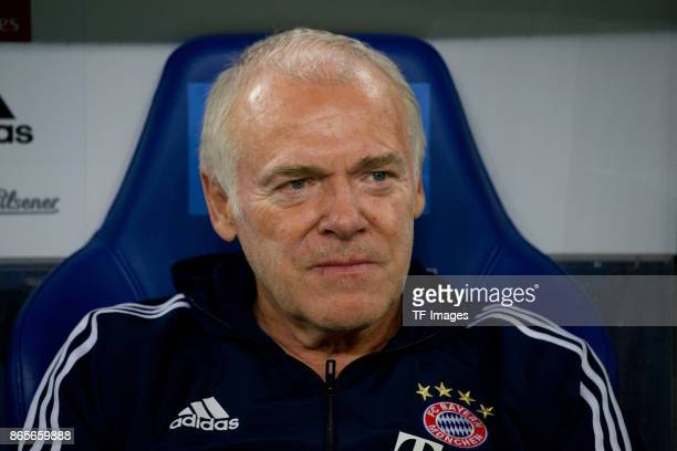 Assistant coach Hermann Gerland of Bayern Muenchen looks on prior the Bundesliga match between Hamburger SV and FC Bayern Muenchen at...