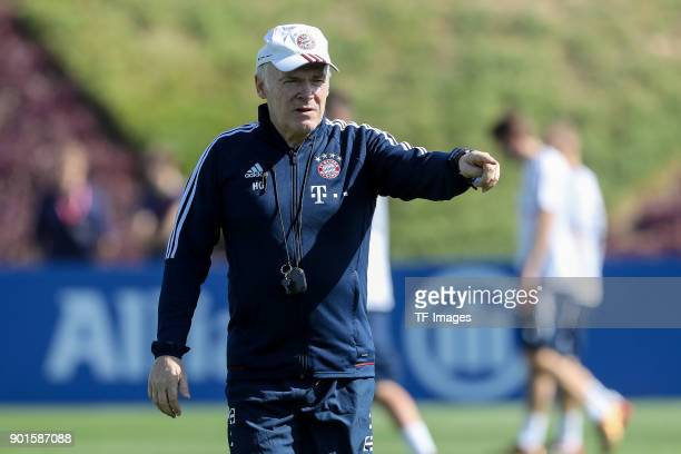 Assistant coach Hermann Gerland of Muenchen gestures during the FC Bayern Muenchen training camp at Aspire Academy on January 03 2018 in Doha Qatar
