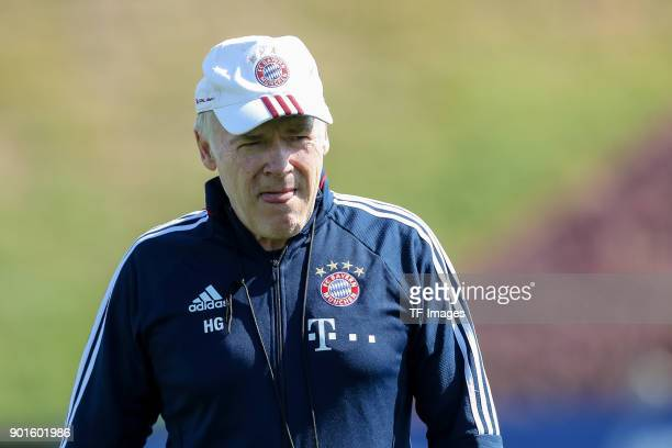 Assistant coach Hermann Gerland of Muenchen looks on during the FC Bayern Muenchen training camp at Aspire Academy on January 03 2018 in Doha Qatar