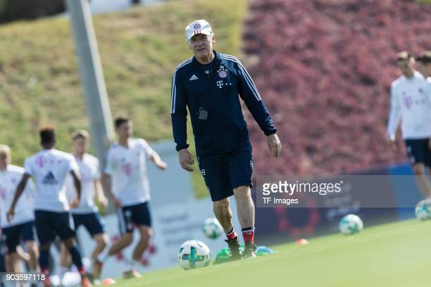 Assistant coach Hermann Gerland of Muenchen looks on during the FC Bayern Muenchen training camp at Aspire Academy on January 07 2018 in Doha Qatar