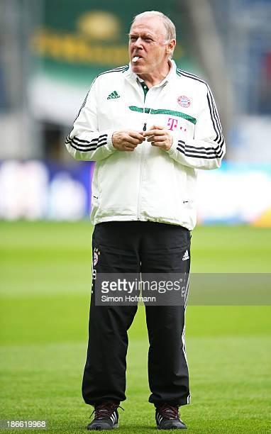 Assistant coach Hermann Gerland of Muenchen looks on prior to the Bundesliga match between 1899 Hoffenheim and Bayern Muenchen at RheinNeckar Arena...