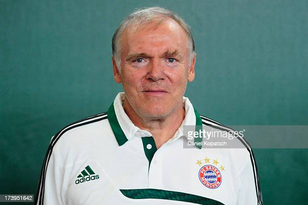 Assistant coach Hermann Gerland pose during the Bayern Muenchen Team Presentation on July 18 2013 in Munich Germany