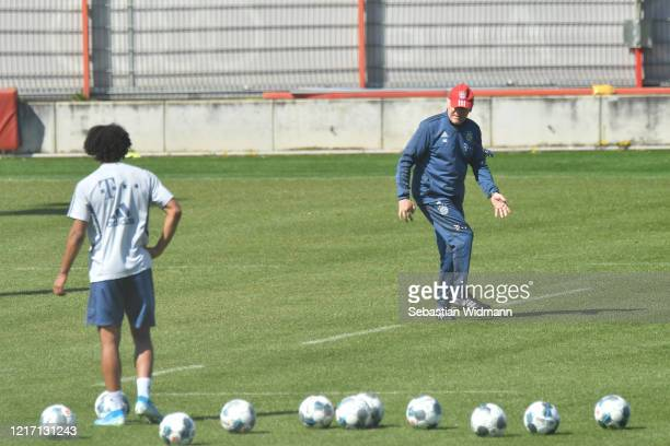 Assistant coach Herrman Gerland of Bayern Muenchen gives instructions during a training session at Saebener Strasse training ground on April 06 2020...