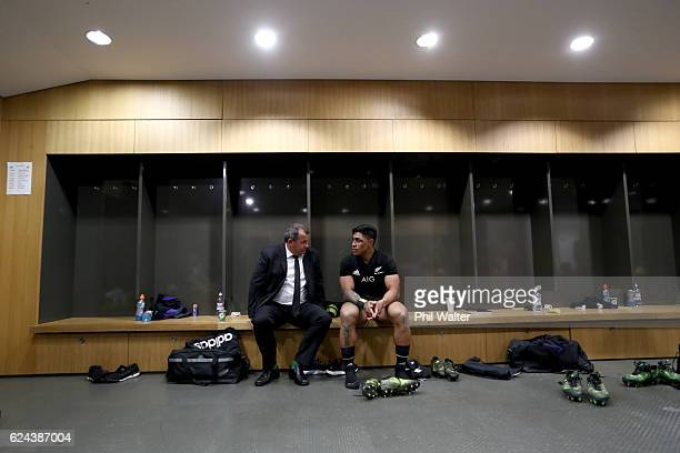 Assistant Coach Ian Foster talks with Malakai Fekitoa in the dressing room following the international rugby match between Ireland and the New...