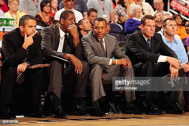 Assistant coach Igor Kokoskov assistant coach Bill Cartwright head coach Alvin Gentry and assistant coach Dan Marjerle of the Phoenix Suns observe...