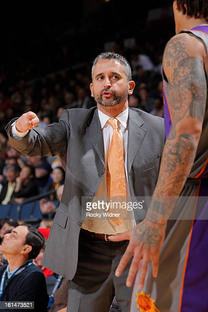 Assistant coach Igor Kokoskov of the Phoenix Suns instructs his team during a game against the Golden State Warriors on February 2 2013 at Oracle...