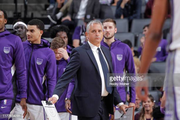 Assistant Coach Igor Kokoskov of the Sacramento Kings looks on during the game against the Melbourne United on October 16, 2019 at Golden 1 Center in...