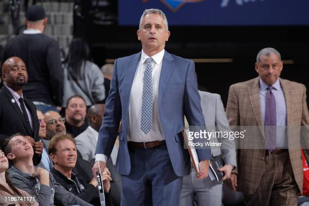 Assistant Coach Igor Kokoskov of the Sacramento Kings looks on during the game against the Denver Nuggets on November 30, 2019 at Golden 1 Center in...