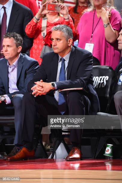 Assistant Coach Igor Kokoskov of the Utah Jazz looks on during the game between the Utah Jazz and the Houston Rockets in Game Two of Round Two of the...