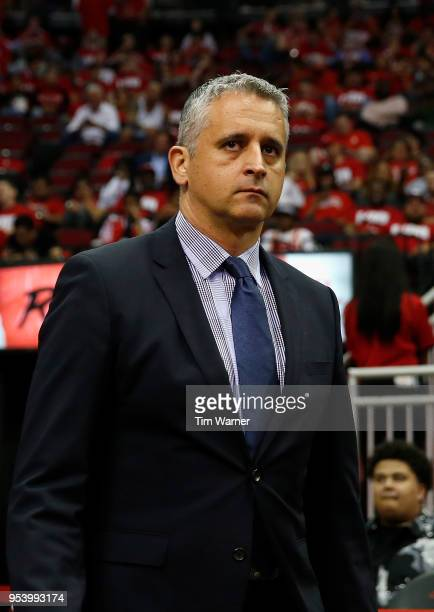 Assistant coach Igor Kokoskov of the Utah Jazz walks to the court before the third quarter during Game Two of the Western Conference Semifinals of...
