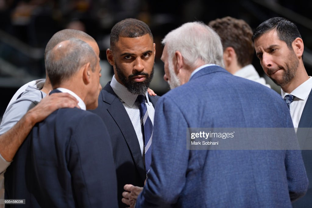 Assistant Coach Ime Udoka seen during the game against the Orlando Magic on March 13, 2018 at the AT&T Center in San Antonio, Texas.