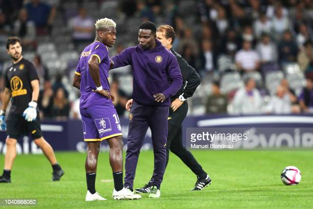 Assistant coach Issou Dao and Aaron Leya Iseka of Toulouse of Toulouse during the Ligue 1 match between Toulouse and St Etienne at Stadium Municipal...
