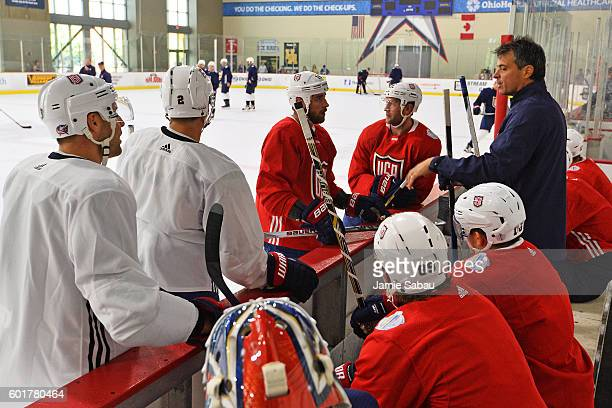 Assistant Coach Jack Capuano of Team USA instructs his penalty killers during practice in preparation for the World Cup of Hockey on September 8 2016...