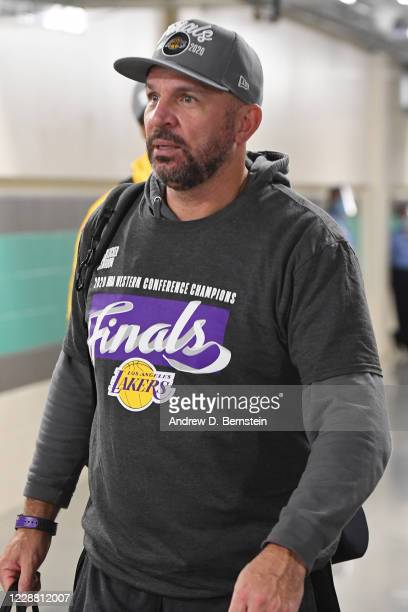 Assistant Coach Jason Kidd of the Los Angeles Lakers looks on after winning Game Five of the Western Conference Finals against the Denver Nuggets on...