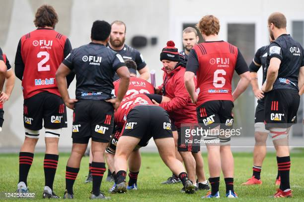 Assistant Coach Jason Ryan speaks to his players during a Crusaders Super Rugby training session at Rugby Park on June 03, 2020 in Christchurch, New...