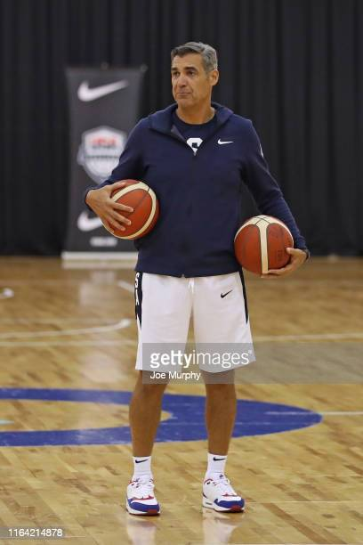 Assistant Coach Jay Wright looks on during the 2019 USA Basketball Men's National Team Training Camp at Qudos Bank Arena on August 24, 2019 in...