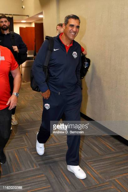 Assistant Coach Jay Wright of Team USA arrives at the arena before the game against Team Spain on August 16, 2019 at the Honda Center in Anaheim,...