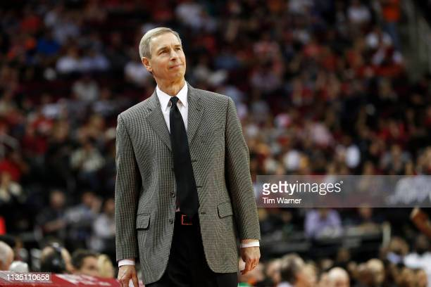 Assistant coach Jeff Bzdelik fills in for Mike D'Antoni who is out with an illness during the game against the New York Knicks at Toyota Center on...