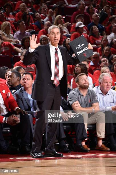 Assistant Coach Jeff Bzdelik of the Houston Rockets calls a play agains the Minnesota Timberwolves during Game Two of Round One of the 2018 NBA...