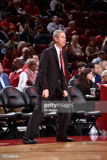 Assistant Coach Jeff Bzdelik of the Houston Rockets looks on during the game against the Los Angeles Lakers on December 13 2018 at the Toyota Center...